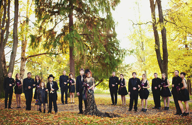 All black wedding party