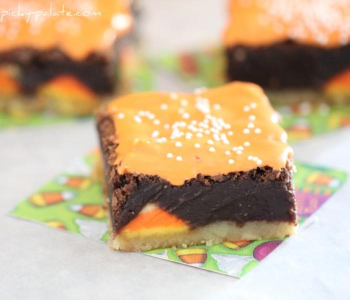 Shortbread Candy Corn Brownies