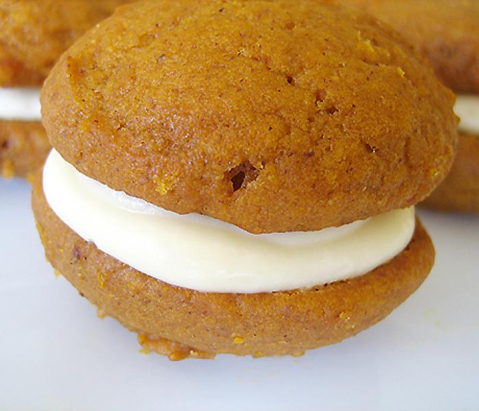 Pumpkin Whoopie Pies with Maple Cream Cheese Frosting